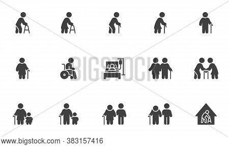 Elderly People Vector Icons Set, Modern Solid Symbol Collection, Filled Style Pictogram Pack. Signs,
