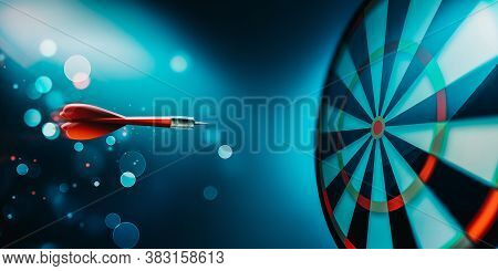 Dartboard With Arrow About To Hit For Your Project