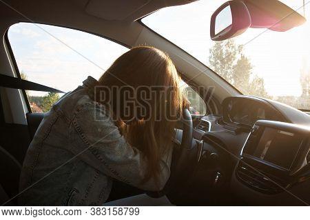 Upset, Tired Girl Sitting In A Car. Sad Girl In The Car.