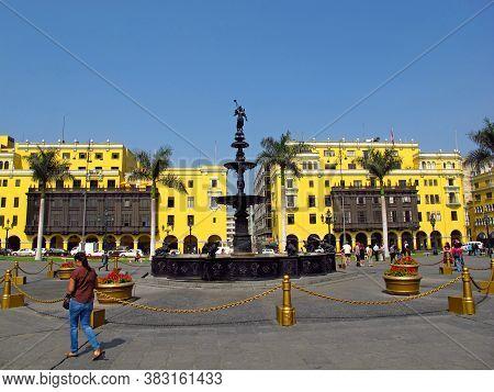 Lima / Peru, - 30 Apr 20111: The Vintage Fountain On Plaza De Armas, Plaza Mayor, Lima City, Peru, S