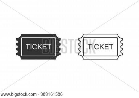 Ticket Line Icon Set. Pass, Permission Or Admission Symbol, Vector Illustration