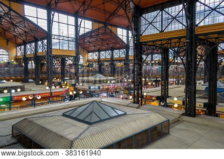 Budapest, Hungary, March 2013: High Angle View Indoor View On Great Central Market Hall In Budapest,
