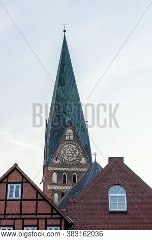 View Of Historic Old Red Brick Buildings And Church Steeple In Lunenburg