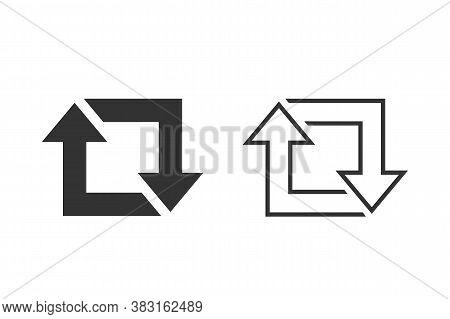 Repost Line Icon Set, Repost Symbol, Repost Sign. Vector