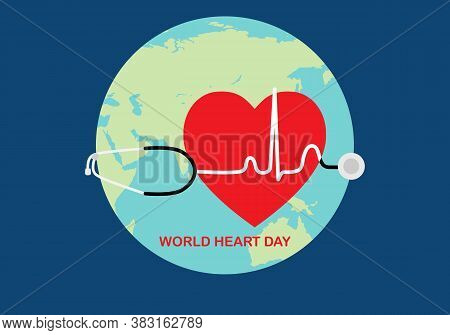 World Heart Day. Vector Illustration Of Heart Shape, Stethoscope And Ekg Wave On Earth Background