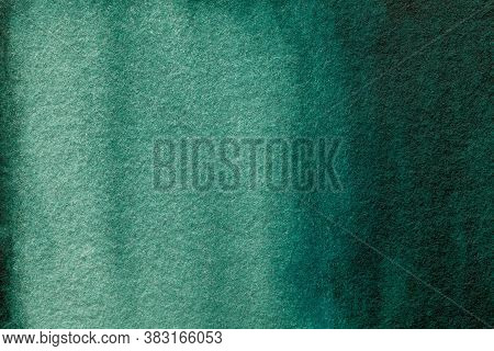 Abstract Art Background Dark Green And Cyan Colors. Watercolor Painting On Canvas With Soft Emerald