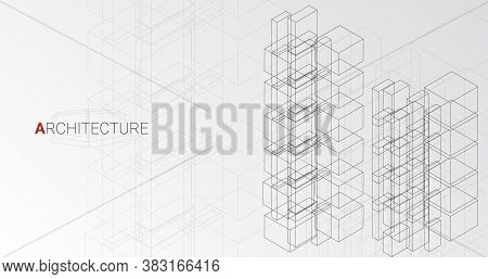 Modern Architecture Concept. Abstract Vector Illustration Of Highrise Buildings Over Gray Background