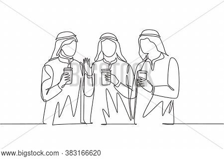 One Single Line Drawing Of Young Muslimah Girls Walking Together With Friends Holding A Paper Cups O