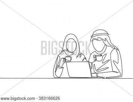 One Single Line Drawing Of Young Muslim And Muslimah Workers Discussing At Office. Arab Middle East