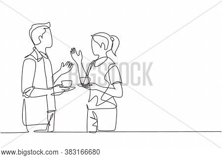 Single Continuous Line Drawing Of Young Male And Female Workers Talking Together While Office Break