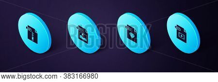 Set Isometric Mp4 File Document, Ruby, Tiff And Zip Icon. Vector