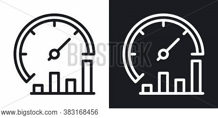 Business Process Optimization Icon. Performance Or Productivity Meter With Growth Chart. Simple Two-