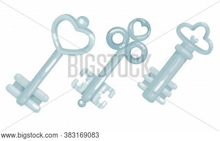 Silver Key As Device For Closing And Opening Door Vector Set