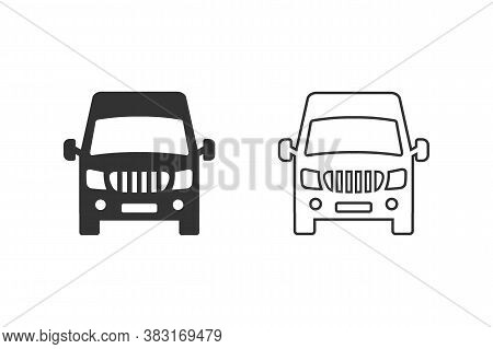 Van Front View Line Icon Set Isolated On White Background. Vector