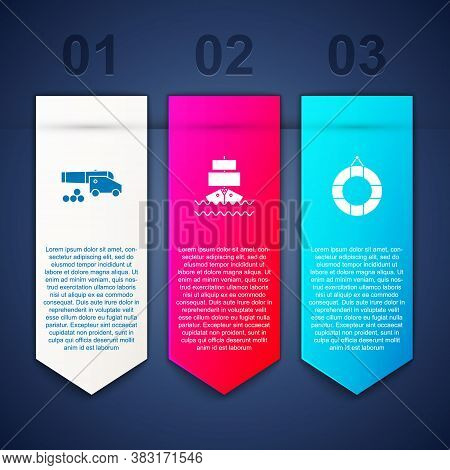 Set Cannon With Cannonballs, Ship And Lifebuoy. Business Infographic Template. Vector