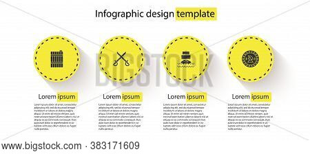 Set Wooden Barrel, Crossed Pirate Swords, Ship And Pirate Coin. Business Infographic Template. Vecto
