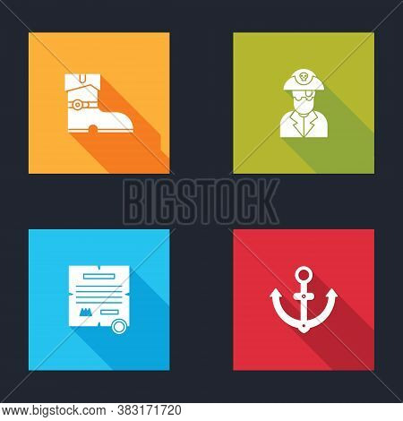 Set Leather Pirate Boots, Pirate Captain, Decree, Parchment, Scroll And Anchor Icon. Vector