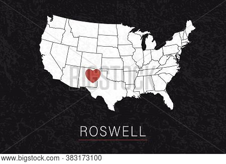Love Roswell Picture. Map Of United States With Heart As City Point. Vector Illustration