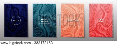 Curve Topography Lines Imitation Cool Vector Covers Set. Geography Magazine Front Pages Abstract Top
