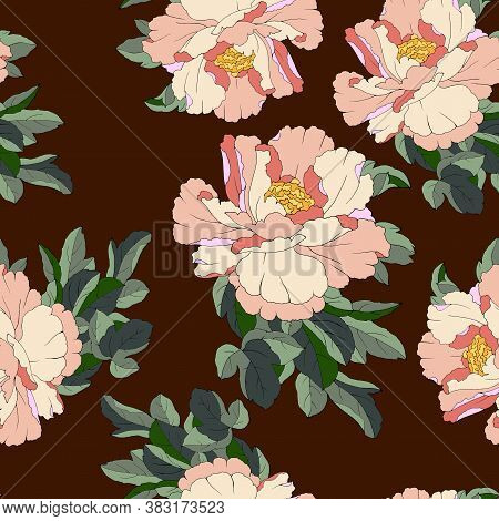 Seamless Pattern With Flowers Pions In Bright Colors, Ornament For Wallpaper And Fabric, Background