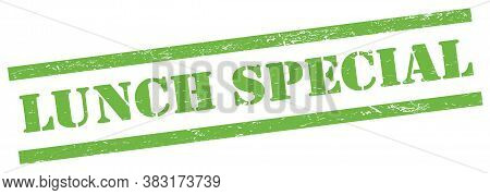 Lunch Special Green Grungy Rectangle Stamp.