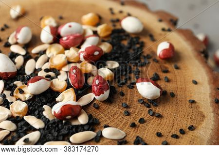 Mixed Vegetable Seeds On Wooden Log, Closeup