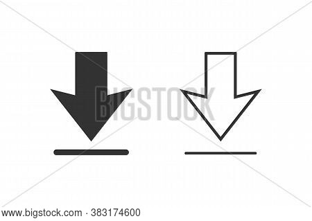 Download Icon Set White Background. Downloading Vector Icon