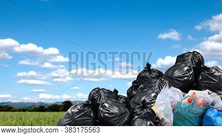 Garbage Bags Large Pile, Plastic Garbage Waste Big Stack, Lot Of Waste Bag And Sky Background, Copy