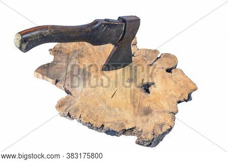 Old Rusty Axe With Wooden Handle Stuck In The Stump, Isolated On A White Background