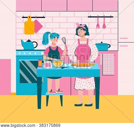 Mom Teaching Her Daughter How To Cook Food In Kitchen. Kid And Mother Together Making Dough Mixing B