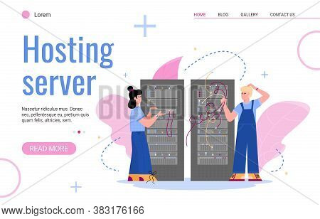 Website Interface Template For Hosting Server With Characters Of It Staff Working In Data Center Ser