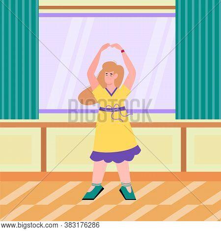 Pretty Dancing Woman In Yellow Dress In Room Interior, Flat Cartoon Vector Illustration. Woman Carto