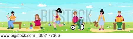 Horizontal Banner With Kindergarten Kids Playing Together On Outdoors, Flat Vector Illustration. Sum