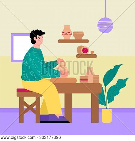 Young Man Engaged With Pottery Art Making Ceramic Crockery In Workshop Interior, Flat Cartoon Vector