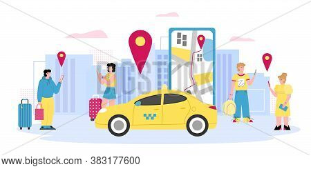 Online Taxi Banner With People Calling Taxi Using Smartphone, Cartoon Vector Illustration. Men And W