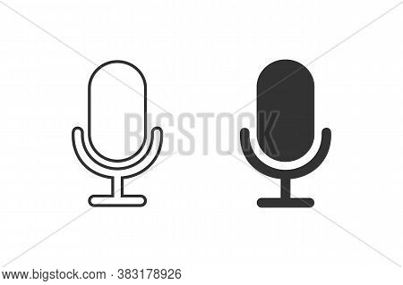 Mic Line Icon Set Vector. Mic Vector Graphic Illustration