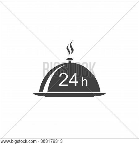 24 H Food Delivery. Dish Cap, Meal Cover Or Tray Server And A Hand With 24 H Black Isolated Icon