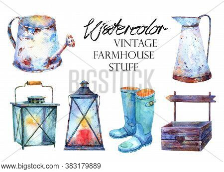 Autumn Watercolor Farmhouse Stuff Clipart. Pitcher, Rusty Watering Can, Wooden Crate Pallet, Rubber