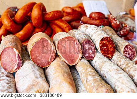 Tasty Sausages, Delicious Pork Loin And Typical Spanish Blood Sausages.