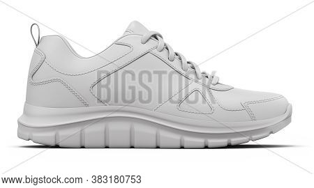 Clay Render Of Side View Sport Shoe On White Background - 3d Illustration
