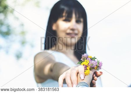 Mother And Child To Hand Over The Flower
