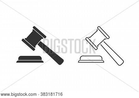 Judgement Justice Line Icon Set In Trendy Flat Style. Vector