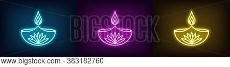 Neon Diya Set For Happy Diwali, Azure Purple Yellow Colors. Glowing Neon Diya Lamp With Fire And Lot