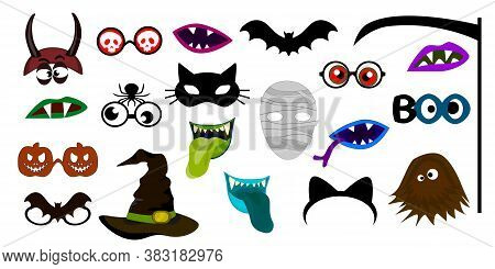 Halloween Photo Booth Props. Fun Party Mask Or Photography Supplies. Photo Props.