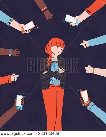 Bullying And Verbal Bullying Concept With Hands Pointing On Girl, Flat Vector Illustration. Victim O