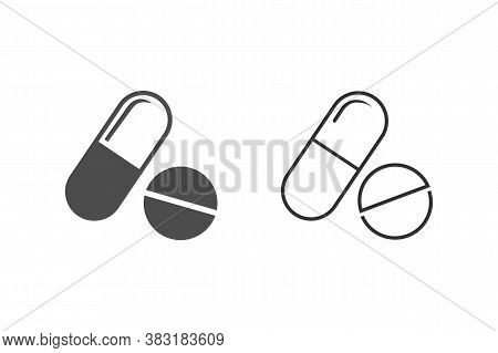 Pill Line Icon On White. Vector. Modern Flat Style