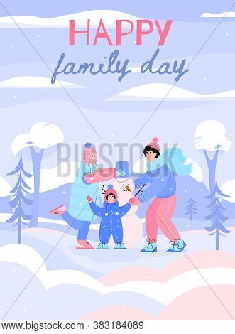 Happy Family Building Snowman In Winter Snowy Park Poster. Couple And Child Spending Family Day Toge
