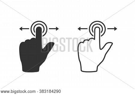 Gesture Touch Slide Vector Line Icon Set, Gesture Slide Icon