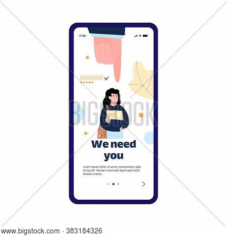 Mobile Page Template Design To Hire And Recruit With People Characters, Flat Cartoon Vector Illustra