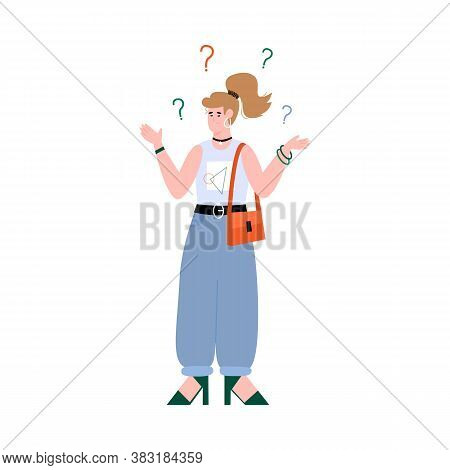 Confused Young Woman Concerning About Something. Girl Looking For Answers On Some Questions, Flat Ca